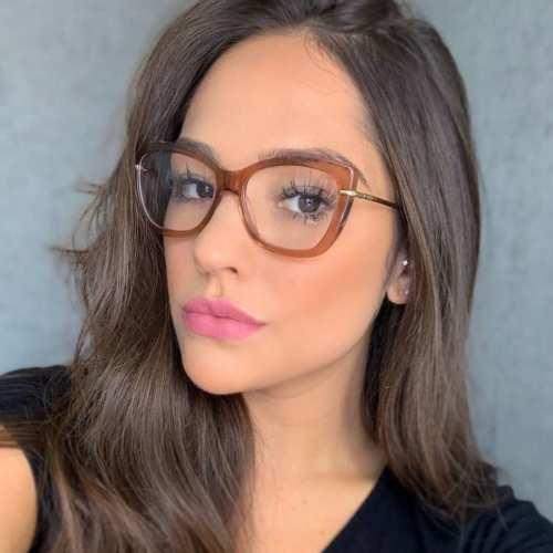 oticagriss armacao para oculos de grau griss 113 marrom transparente