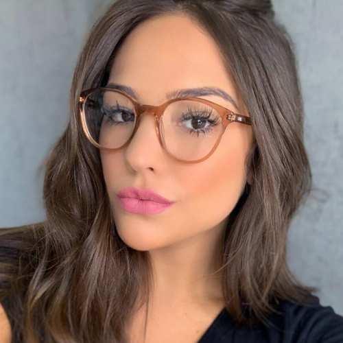 oticagriss armacao para oculos de grau griss 116 marrom transparente