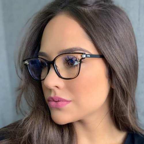 oticagriss armacao para oculos de grau griss 125 preto com transparente