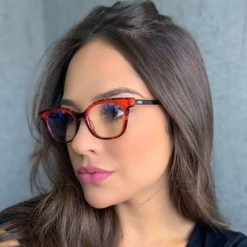 oticagriss armacao para oculos de grau griss 125 tartaruga vermelha