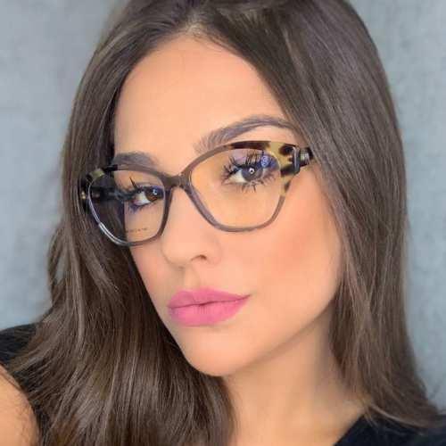 oticagriss armacao para oculos de grau griss 126 tartaruga com cinza transparente
