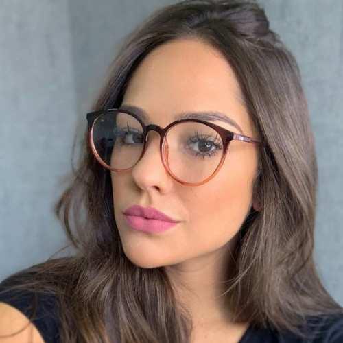 oticagriss armacao para oculos de grau griss 127 marrom com transparente