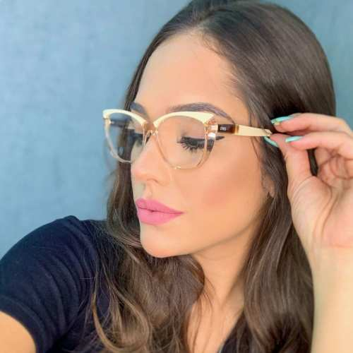 oticagriss armacao para oculos de grau griss 132 rosa transparente