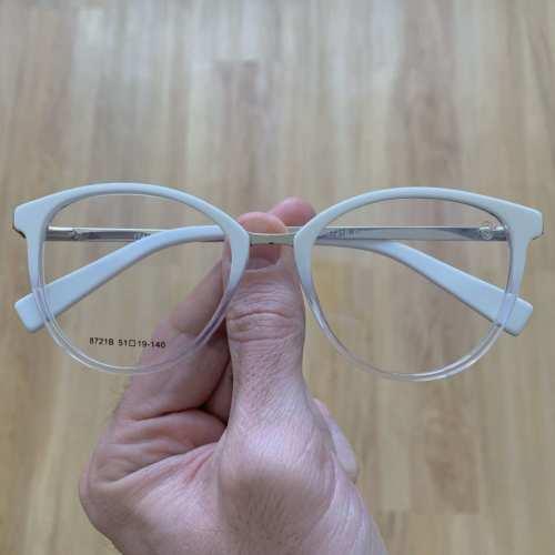 oticagriss armacao para grau redondo 140 branco com transparente 3