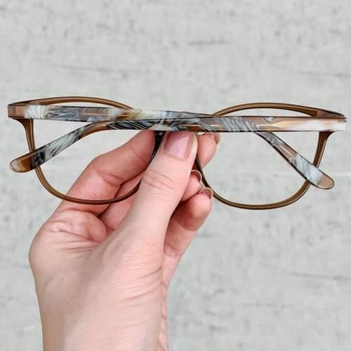 oticagriss oculos de grau retangular 158 marrom com rajado 1
