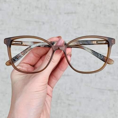 oticagriss oculos de grau retangular 158 marrom com rajado