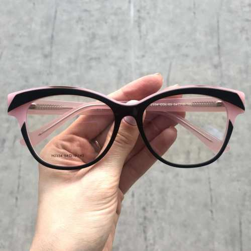oticagriss armacao para grau retangular 165 preto com rosa 2