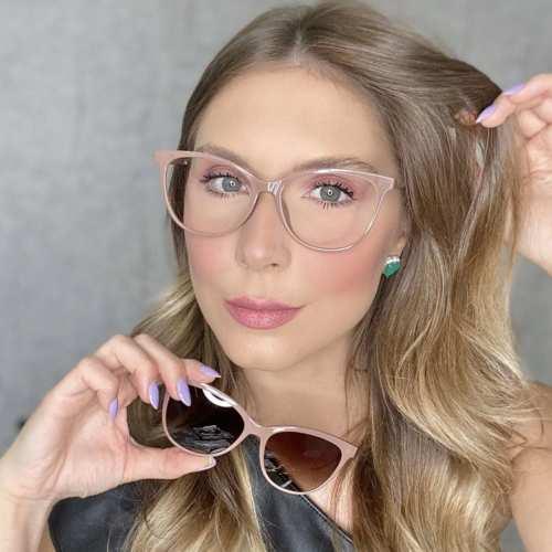 oticagriss oculos clip on gatinho nude 186