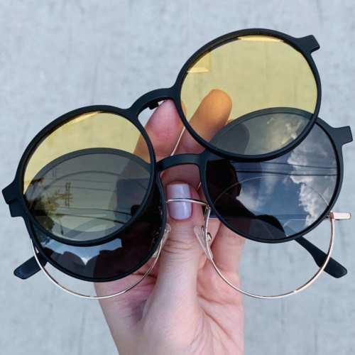 oticagriss oculos clip on redondo dourado185 6