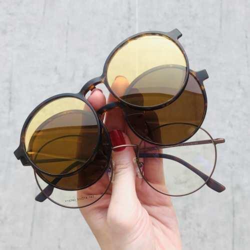 oticagriss oculos clip on redondo tartaruga 185 1