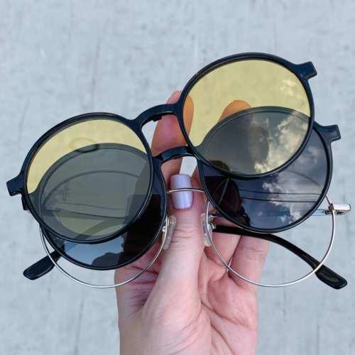 oticagriss oculos clip on redondo prata 185 4