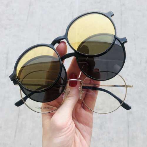 oticagriss oculos clip on redondo prata 185