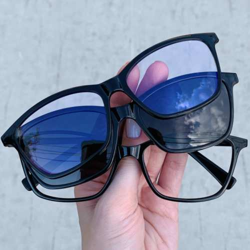 oticagriss oculos clip on retangular preto 193