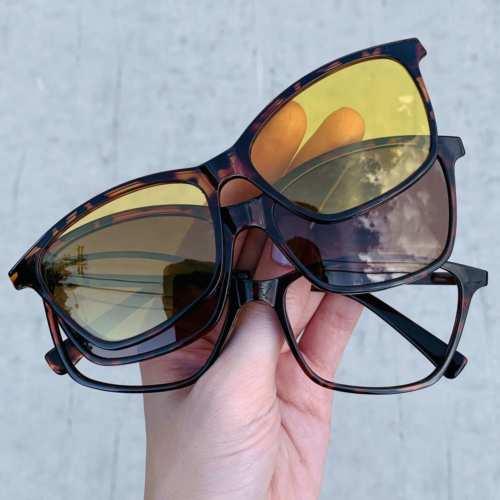 oticagriss oculos clip on retangular tartaruga 193