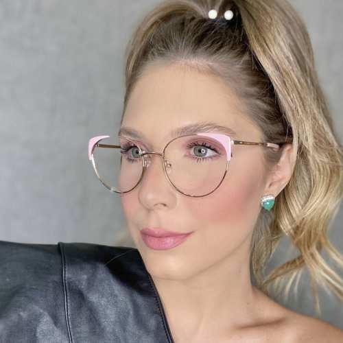 oticagriss oculos de grau gatinho rosa 190