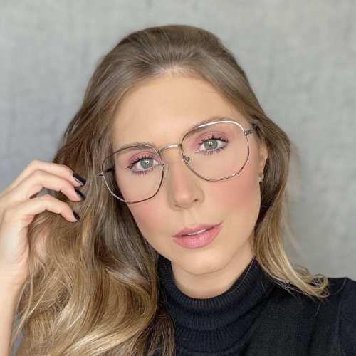 oticagriss oculos de grau hexagonal prata 192