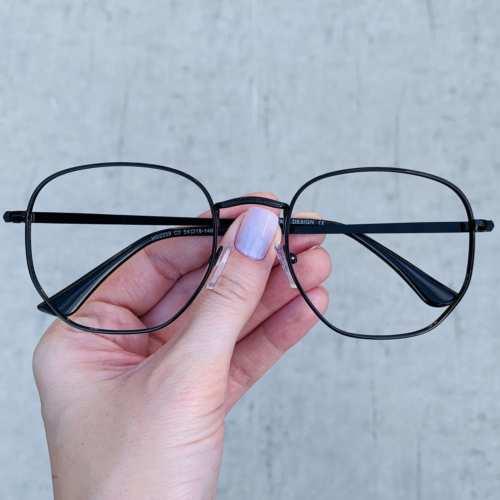 oticagriss oculos de grau hexagonal preto 192