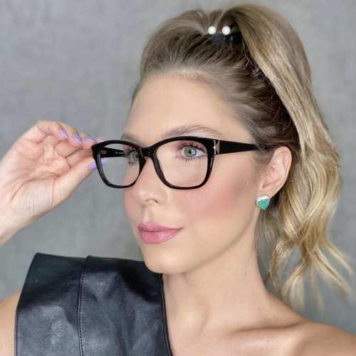 oticagriss oculos de grau retangular preto 188