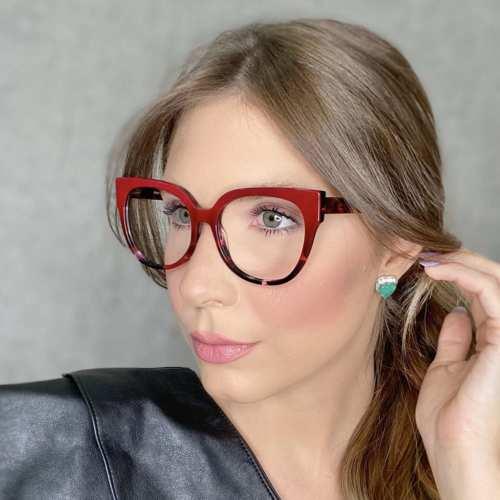 oticagriss oculos de grau retangular vermelho com tartaruga 189 1