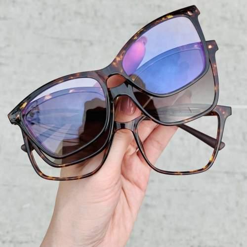 oticagriss oculos de grau clip on tartaruga 196