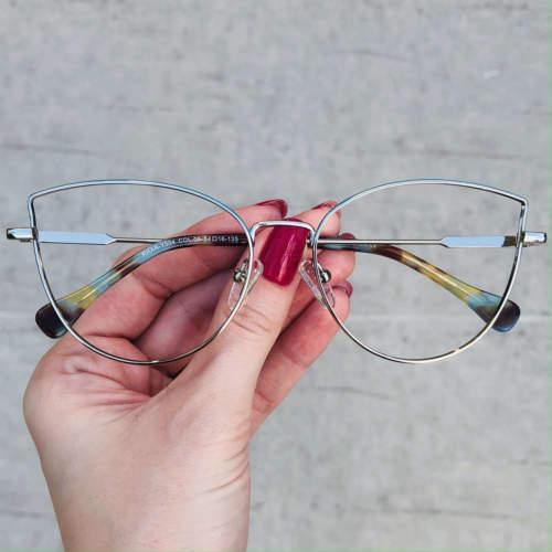 oticagriss oculos de grau gatinho prata com verde 201