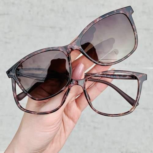 oticagriss oculos clip on tartaruga 197